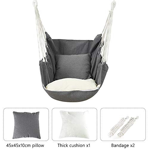 KKTECT Multifunctional Hanging Chair, Removable & Easy Cleaning Hammock Chair with Two Cushions and Tie Rope for Home/Bedroom/Patio/Deck/Yard/Garden