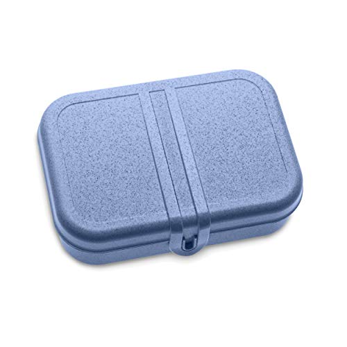 Koziol Lunchbox mit Trennsteg Pascal L, Brotdose, Brotbox, Speisegefäß, Thermoplastischer Kunststoff, Organic Blue, 3152671
