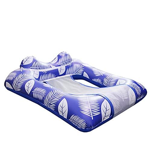 WINBST Hamaca de la piscina del colchón del aire con la malla, cama de agua de la natación flotante de la silla de salón inflable para adultos resistente 110x80x25cm