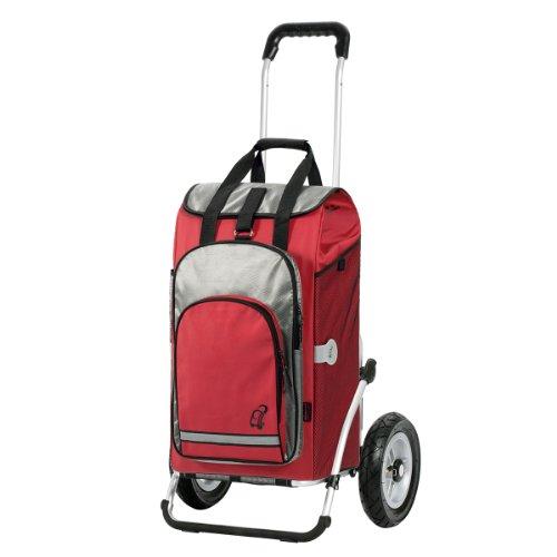 Andersen Chariot de courses Royal avec sacoche Hydro rouge, volume 60L, poche isotherme, cadre aluminium et roues pneumatiques