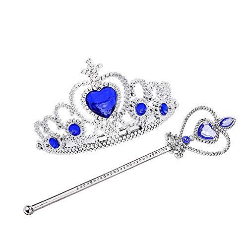 thematys Diadema del Set da Principessa Copricapo e Bacchetta Magica - Set per Bambini Accessorio Perfetto per Il Carnevale e Cosplay (Blu)