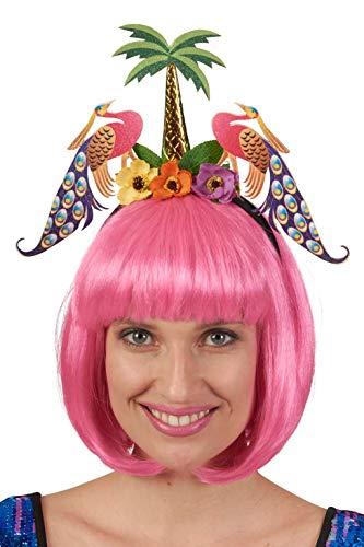 Andrea Moden 3892625 Haarband met palm en pauw, hoofdtabel, Caribisch gebied, Hawaï, bloemen, dier, tiara, strandfeest, motto party, carnaval