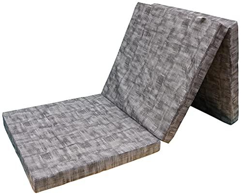 Prosanvita Klappmatratze in grau, ideale Faltmatratze für unterwegs, Notbett für Ihren Besuch, platzsparend zu verstauende Gästematratze, ca. 195 x 65 cm, H2
