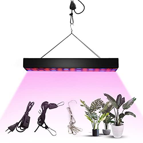 Homradise Lámpara LED de 200 W y luz de crecimiento de espectro completo ajustable para plantas de interior, sembrado, cría, verduras y flores, peso ligero y tamaño pequeño…