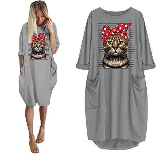 OPAKY Camiseta Mujer Verano Moda Oreja de Gato Impresión Manga Larga Tallas Grandes Camiseta con Capucha Blusa Camisa Basica Camiseta Suelto Estampado Tops Casual Fiesta T-Shirt Mini Vestido Corto