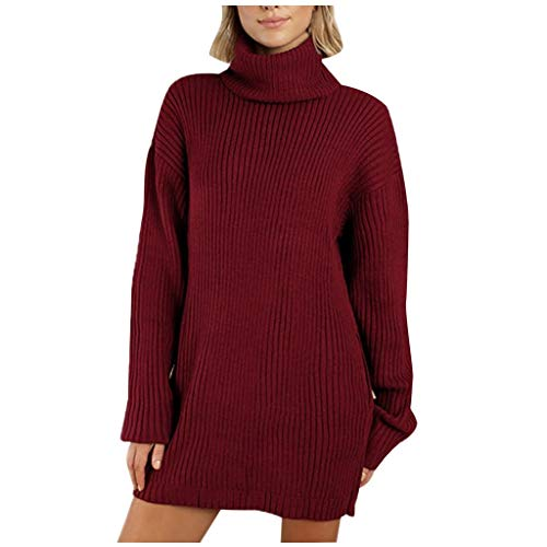 BALABA◕。Winter Women Solid Color Turtleneck Knit Sweater Dress O Neck Long Sleeve Straight Sweater Dress Mini Dress (Red, XL)