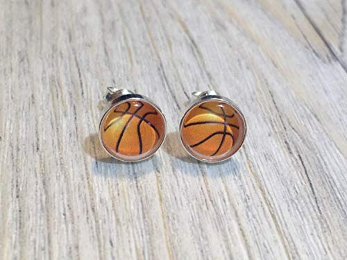 Basketball Football 925 Sterling Silber 8mm Ohrringe Ohrstecker
