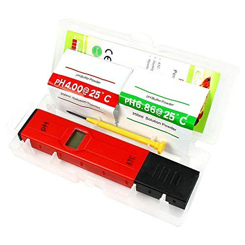 PIPER (ATC), PH Meter / 0.01 PH high Precision Water Quality Tester/PH Tester,0-14 pH Measurement Range for Household Drinking Water,Swimming Pools, Hydroponics, School Education etc(Red)