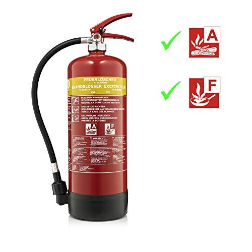 Smartwares Fettbrand-Feuerlöscher/ 6 Liter Fettlöscher für Brandklasse A&F mit Schlauch & Manometer, FEX-15460