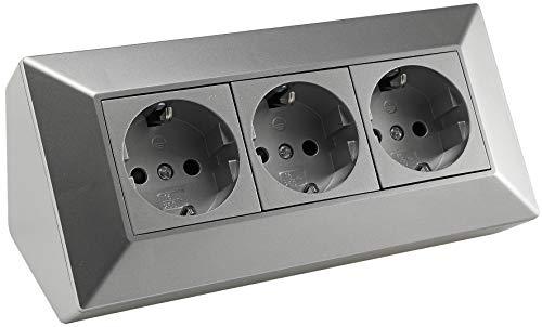 Steckdosenblock 3-fach Eck-Steckdose 230V / 16A Aufbau Unterbau Steckdosenleiste Küche Werkstatt Silber Grau