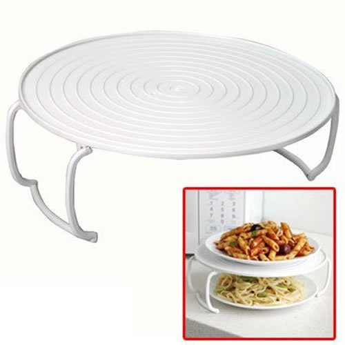 Jazooli Microwave Folding Round Tray Double Plate Dish Bowl Holder Rack Cover Stacker