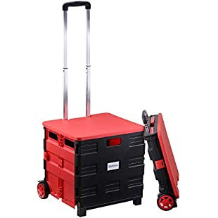 Customer reviews Rackaphile Folding Boot Cart Shopping Trolley on Wheels,Collapsible Boot Cart Crate Box Utility Cart with Lift-Off LId, 35 kg Load Capacity, Black and Red:Superclub