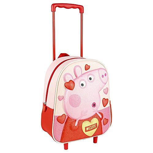 Cerdá, Mochila con Ruedas Infantil 3D Peppa Pig-Licencia Oficial Nickelodeon Unisex niños, Multicolor, 260X310X100MM