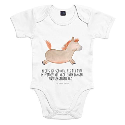 Mr. & Mrs. Panda Strampler, Bodysuit, 3-6 Monate Baby Body Pferd springt mit Spruch - Farbe Transparent