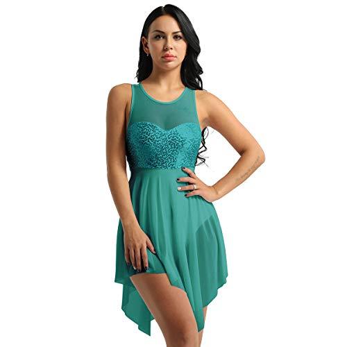 Alvivi Women's Lyrical Modern Dancewear Shiny Sequins Criss Cross Back High Low Ballet Dance Dress Dark Green X-Large