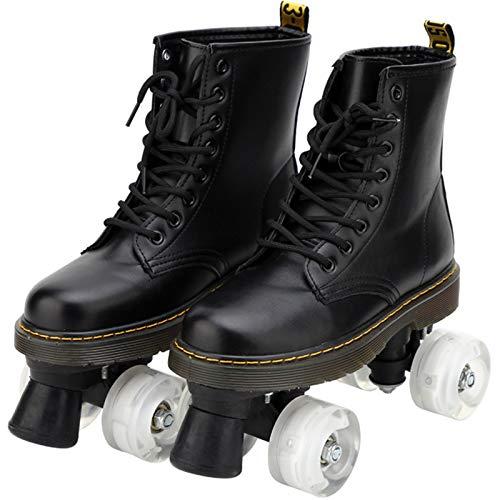 Xbshmw Outdoor Rollschuhe für Frauen Männer, Disco Roller für Erwachsene, Geeignet für Straße und Halle, Schnürschuhe, High Top Rollschuhe, Lederstiefel für Mädchen, Jungen,Transparent Wheel,42