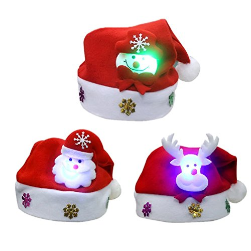 OULII 3 Stück LED Weihnachtsmütze Nikolausmützen mit Bommel Kinder Zipfelmütze Weihnachten kostüm Geschenke Mütze