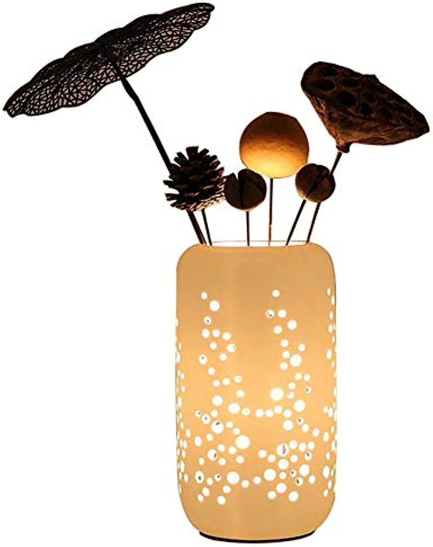 Keramik Vase Tischlampe Kreative Einfache Blaume Arrangement Fashion Table Light Warm Und Romantik Schlafzimmer Bedside Wohnzimmer Studie LED Dekorative Tischlampe [Energieklasse A]