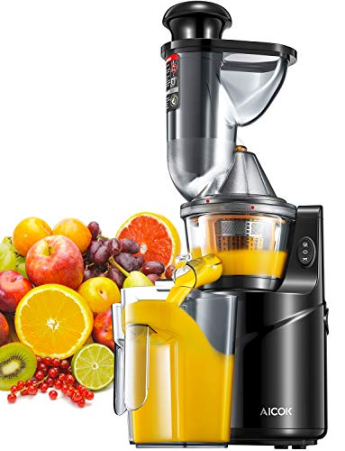 """Aicok Masticating Juicer, Juicer Machine with 3"""" Whole Juicer Chute for Fruits and Vegetables, Slow Juicer Extractor Easy to Clean with Pre-Clean Function and Brush, Quiet Motor, BPA-FREE, Black"""