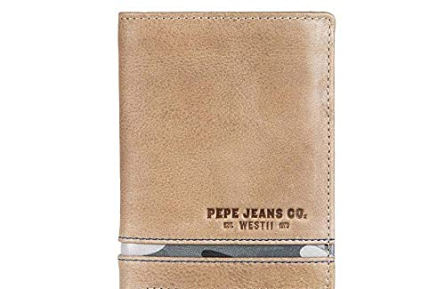 Pepe Jeans Delta Cartera vertical con monedero Marrón 8,5x11,5x1 cms Piel