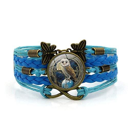 Pulsera tejida, Cuerda azul Bola de cristal mágica Búho Animal, Tiempo Pulsera de piedras preciosas Varias capas de vidrio tejido a mano Combinación de joyas Moda femenina Joyas de estilo europeo