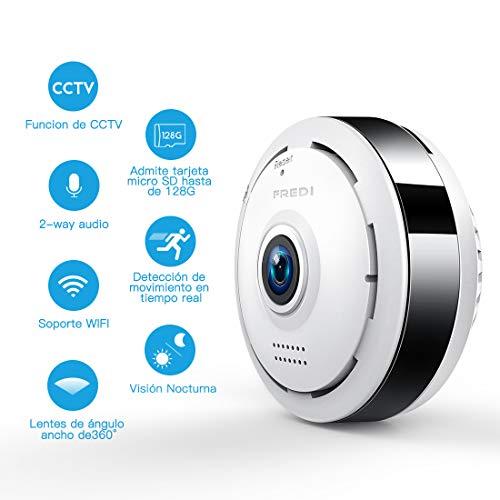 960P HD IP WiFi Cámara de Seguridad FREDI, Cámara de Vigilancia Panorámica de 360 Grados, Deteccion de Movimiento con Visión...