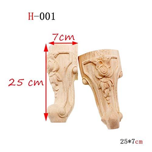 2 Stuks/Set Houten Meubilair Legs, Stevige Houten Flower Carving TV Kabinet Zitsbank Feet Geen Verf Drop Ship (Color : H 001 25x7cm)