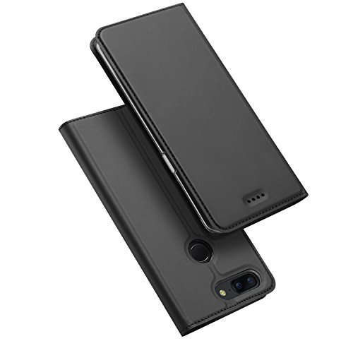 SMTR OnePlus 5T Wallet Tasche Hülle - [Eingebauter Magnet][Ultra Slim][Card Slot] Flip Wallet Hülle Etui für OnePlus 5T - Skin series schwarz