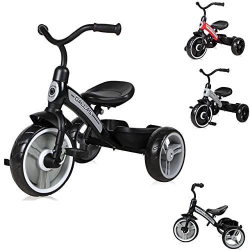 Lorelli Triciclo Dallas Asiento ergonómico Regulable en Altura Ruedas EVA Cesta, Color:Negro