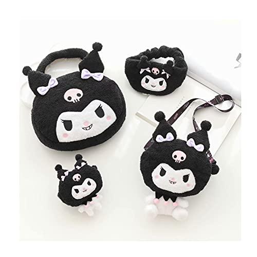 Ownlife Kuromi Bag Set My Melody Lindo bolso de mensajero de dibujos animados monedero diadema muñeca bolso para niños niños y niñas