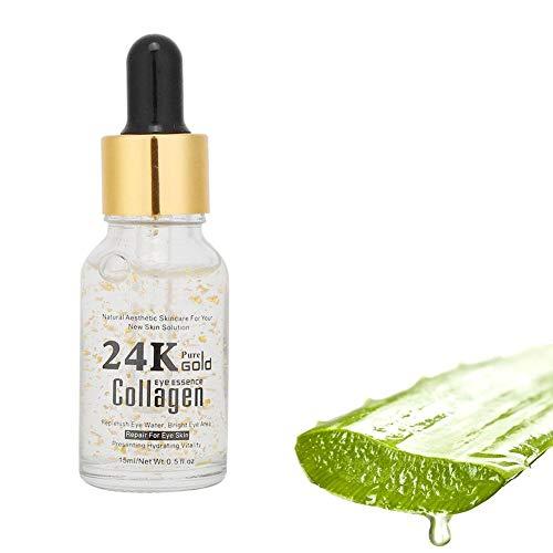 Sérum pour les yeux, sérum de collagène doré 24K 15ML Essences de crème de soin du visage avec hyaluronique pour améliorer les ridules et les rides
