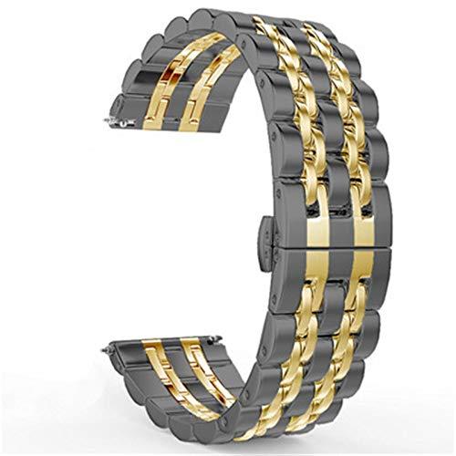 22mm 20 mm banda para Samsung Galaxy Watch 3 41mm 45mm 46mm 42mm pulsera de cinturón de acero inoxidable 1033 (Band Color : Black gold, Band Width : 22mm)