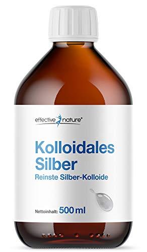 effective nature Kolloidales Silber, reinste Silber-Kolloide, höchstmögliche Reinheitsstufe von 99,99{c1ee77ee00d779784e46ffb8a8f42afaa904593989263a8d8e7ef55d039ba63c}, Partikeldichte 25 ppm, ohne Zusätze, Inhalt: 500 ml