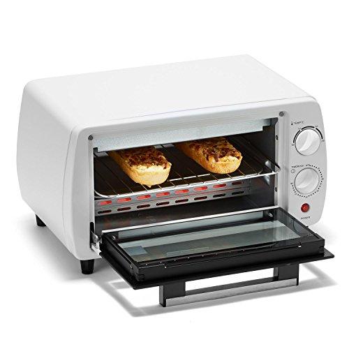 KLARSTEIN HEA8 Minibreak-W - Minihorno, ultracompacto, 11L, con Temporizador y Temperatura de hasta 250°C (800W, Placa y Parrilla, 2 Elementos de calefacción), Color Blanco