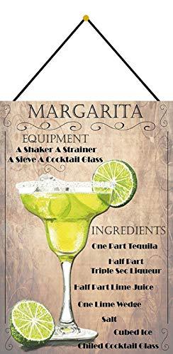 Metalen bord 20x30cm gewelfd met koord Cocktail Recept Deco Gift Shield Margarita Tequila Limone IJs