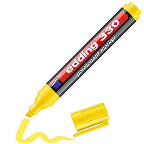 Edding 330 marcador permanente - amarillo - 1 rotulador - punta biselada 1-5 mm - resistente al agua, de secado rápido, rotuladores indelebles - para cartón, plástico, vidrio, madera, metal