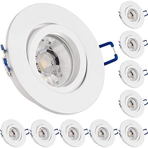LEDANDO 10er Einbaustrahler Set für Spanndecken Weiß matt 7W DIMMBAR COB LED GU10 Deckenstrahler - Spots - Deckenspots - Deckspot
