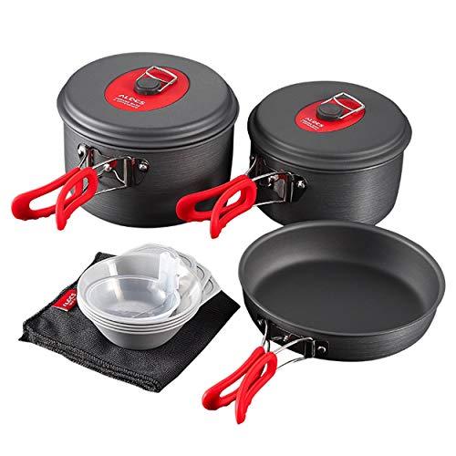 Caroline Philipson Batterie de Cuisine extérieure Portable ALOCS 3 à 4 Personnes Kit de Cuisson ultraléger Pot Pan Bouilloire torchon pour Camping Randonnée Trekking
