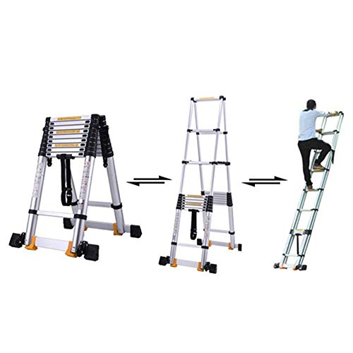 LADDERS Ladder Telescopic Ladders,Heavy Duty Foldable Atelescopic Ladder for Engineering, Multi-Purpose Telescoping Extension Ladder, 330Lbs Capacity,3.4M/11.2Ft