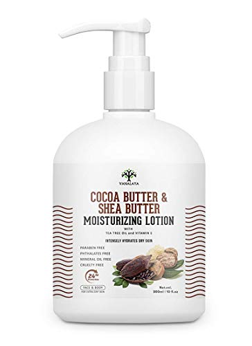 Glamorous Hub Vanalaya Cocoa Butter & Shea Butter Moisturizing Lotion Vitamin E and coconut oil for Dry Skin Paraben Free Sulphate free Mineral oil free for Face and Body 300ml (Packing May Vary)
