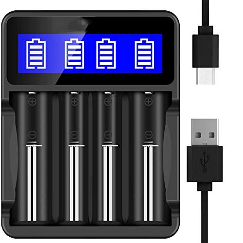 18650 Battery Charger, for SEIVI LCD Display Universal Smart Charger for Rechargeable Batteries Li-ion Batteries 18650 26650 18490 17670 17500 16340 14500, for Ni-MH/Ni-Cd A AA AAA Batteries (Black)