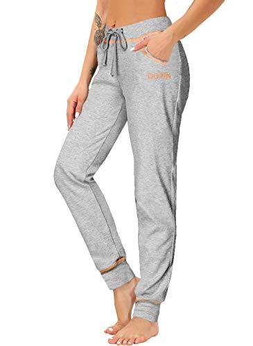 DOTIN Damen Jogginghose Sporthose High Waist Trainingshose Baumwolle Freizeithose Yoga Hose für Frauen