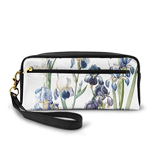Federmäppchen, Make-up-Tasche, Geldbörse, Vintage, Botanische Iris, Blume, Garten, große Kapazität, Tasche, Halter für Kosmetikpinsel, Make-up-Tasche für Reisen, Büro, Schule
