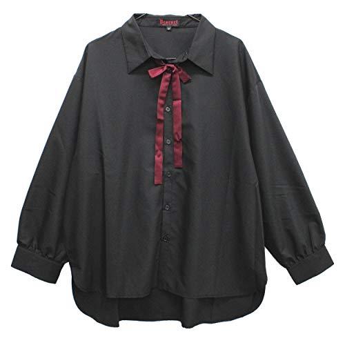 【Deorart ディオラート】リボンネクタイ付 モダール リラックスシャツ DRT2522 (ブラック,L)