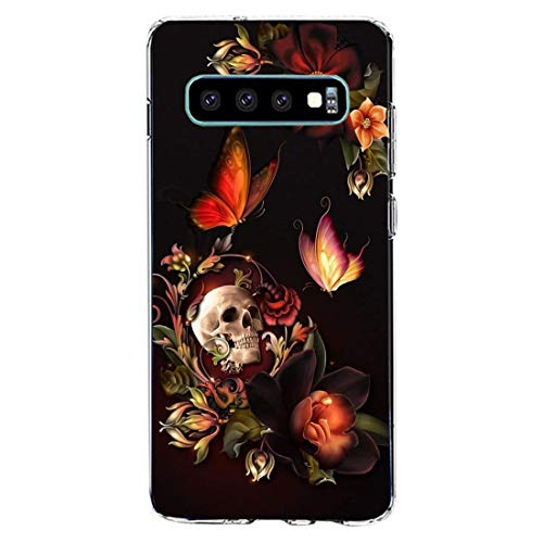 Hülle kompatibel für Samsung Galaxy S10 Handyhülle,Halloween-Schädel Silikon Crystal Clear Transparent Ultra Slim Flexible Luftkissen Schutzhülle für Samsung Galaxy S10 Handy Case (J)