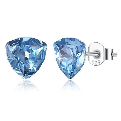 Daesar Donna Orecchini Pendenti Orecchini in Argento 925 Donna Orecchini Blu Triangolo Orecchini Pendenti di Cristallo