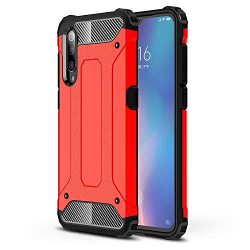 MISKQ Hülle für Huawei nova 6 5G,Internes thermoplastisches Polyurethan + äußeres Polycarbonat,2 in 1 Kombination,Vier Ecken verdickt,Anti-Drop-Telefonkasten(rot)