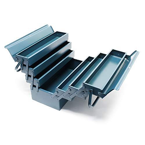 Werkzeugkiste 420x200x250mm aus Stahl mit 7 Fächern Werkzeugkasten mit Handgriff Werkzeugbox