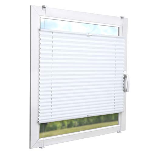 Sol Royal Temporary Roller Blind No Drilling SolDecor P26 80x220 cm Adjustable Blackout Shutter Pleated Shades for Windows White