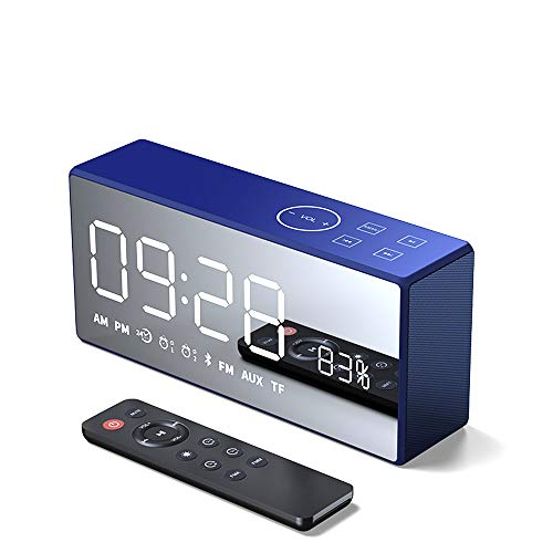 SHENGY HiFi estéreo Bluetooth Espejo Smart Speaker, inalámbrico Remoto 3D Altavoz Digital, 4000mAh batería de Litio handfree Mic FM 103 LED,Blue